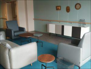aménagement Ehpad design salon bleu